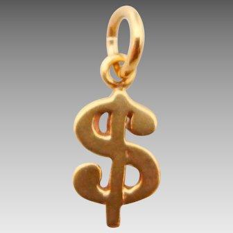 14 Karat Yellow Gold Dollar Sign Charm