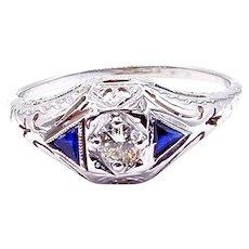 Art Deco Diamond and Sapphires Ring in 14 Karat White Gold