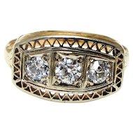 Edwardian 14k Yellow Gold Three Diamond Ring - Old European Cut