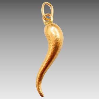 14 Karat Yellow Gold Italian Horn Pendant - Mano Cornuta