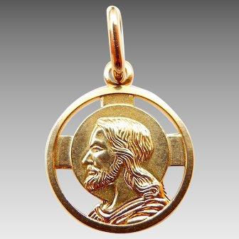 14 Karat Yellow Gold Jesus Christ Round Pendant - Religious Medal