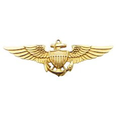 Vanguard WWII US Military Naval Aviator Insignia in 10 Karat Yellow Gold Filled