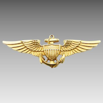 Vanguard WWII US Military Naval Aviator Insignia in 10 Karat Yellow Gold Filled