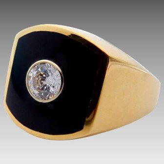 14 Karat Yellow Gold Onyx and Diamond Gentleman Ring - Color H