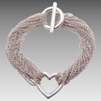 Tiffany & Co. Multiple Strand Heart Toggle Bracelet in Sterling Silver