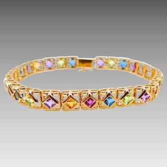 14 Karat Yellow Gold Rainbow Gemstone Bracelet