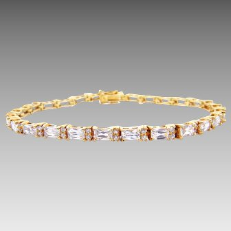 Sterling Silver Vermeil CZ Tennis Bracelet