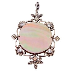 Sterling Silver Mother of Pearl Marcasite and Cubic Zirconia Pendant