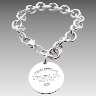 Tiffany & Co Round Tag Sterling Silver Link Bracelet