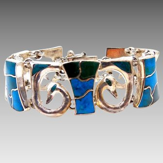 Silver 950 Turquoise Wide Bracelet