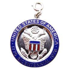 United States Bicentennial Celebration Pendant Blue Enamel in Sterling Silver circa 1976