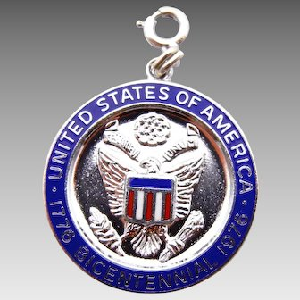 United States Bicentennial Celebration Pendant Blue Enamel in Sterling Silver circa 1976