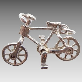 Bicycle Charm Pendant in Sterling Silver Moveable