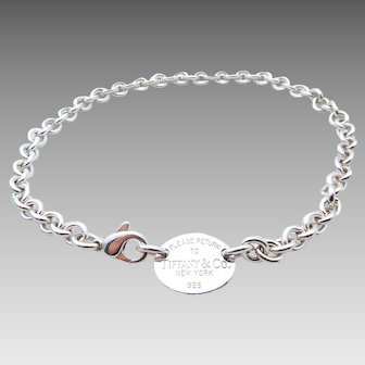 Tiffany & Co Oval Tag Link Necklace Choker in Sterling Silver