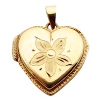 14 Karat Yellow Gold Heart Locket