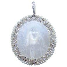Edwardian Pendant in Platinum, 18 Karat Yellow Gold, MOP, Diamond, Pearls