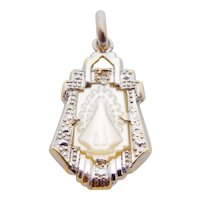 Antique Edwardian Platinum, 18K Yellow Gold, Mother of Pearl, Diamond Petit Pendant