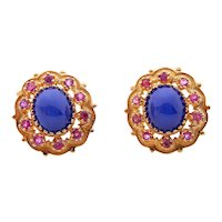 14 Karat Yellow Gold Blue Star Sapphire and Ruby Earrings