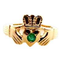 14 Karat Yellow Gold Emerald Claddagh Ring