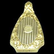 Art Deco 14k Solid Yellow Gold Locket - Geometric Shape