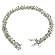 10K White Gold S Shaped Diamond Bracelet - Total 3 Carat Diamonds - Color H - I
