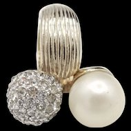 Vintage Castlecliff Simulated Pearl and Rhinestones Hinged Ring