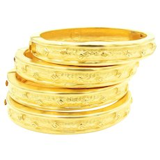 Reserved to TM Givenchy Hinged Bangle Bracelets in Gold Tone - Set of 4