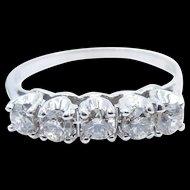 14 karat White Gold 5 Diamond Band