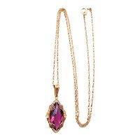 10 Karat Yellow Gold Purple Glass Pendant Necklace - BDA Budlong Docherty Armstrong