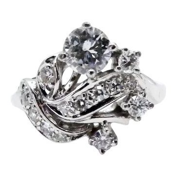 14k White Gold Diamond Swirl Cocktail Ring - Size 6.25 - over 0.75 carats