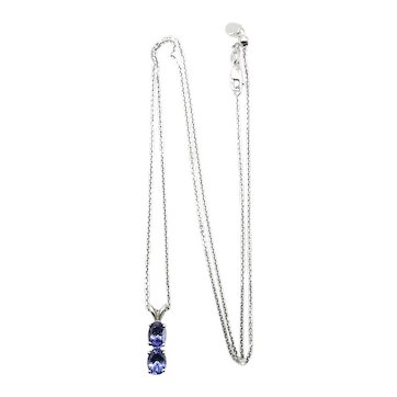 """Tanzanite Pendant Necklace - with Adjustable Chain up to 22"""""""