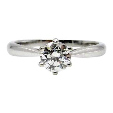 14 Karat White Gold Solitaire Diamond Ring - VS1 0.70 ct - Size 6