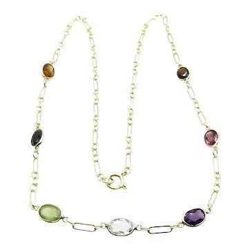 "14 Karat Yellow Gold Multi Color Gemstones Necklace 16"" or 40 cm"
