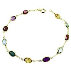 "18 Karat Yellow Gold Multi Color Bracelet - 7.5"" or 19 cm"