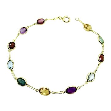 "18 Karat Yellow Gold Multi Color Bracelet - 7.5"" or 19 cm"