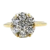 14K Yellow Gold Diamond Floral Ring - Size 5.75