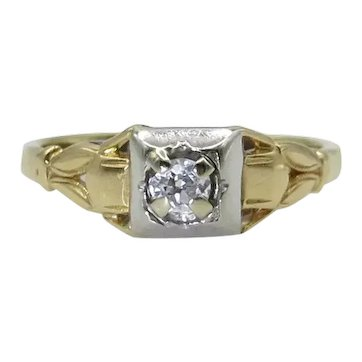 14K Diamond Ring in Yellow and White Gold - European Cut F-G Color - Size 6
