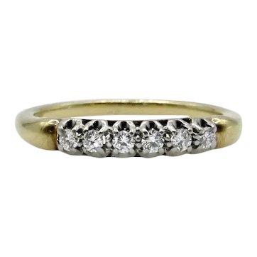 14 Karat Yellow Gold 6 Diamond Band - Size 7.5