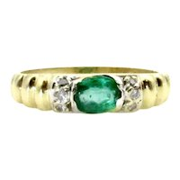 18 Karat Yellow Gold Emerald and Diamond Ring - Size 3.25
