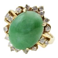14K Yellow Gold Jade and Diamond Ring - Size 4