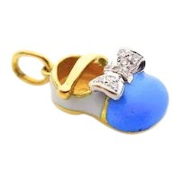 18 Karat Yellow Gold, Blue Enamel and Diamonds Baby Shoe Pendant Charm