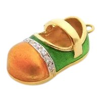 18 Karat Yellow Gold, Yellow & Green Enamel and Diamonds Baby Shoe Pendant Charm