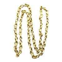 "14 Karat Yellow Gold Diamond Necklace - 21.5"" long or 54 cm"