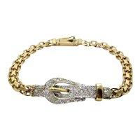14 Karat Yellow and White Diamond Buckle Bracelet