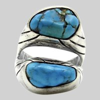 Navajo Sterling Silver Turquoise Ring - Double Stone Ring  - size 10.75