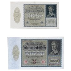 German Vampire Notes - 1922 10,000 MARK Germany Currency Bill Banknote Cash