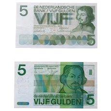 Netherlands 5 GULDEN 1973 and 1966 - Amsterdam - De Nederlandsche Bank