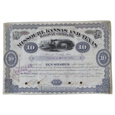 1883 Missouri Kansas and Texas Railway Company Stock Certificate 10 Shares