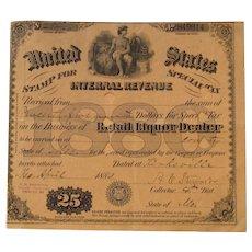 Antique Retail Liquor Dealer for Special Tax Stamp US Internal Revenue - 1880