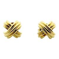 Tiffany & Co 18 Karat Yellow Gold Signature X Pierced Earrings